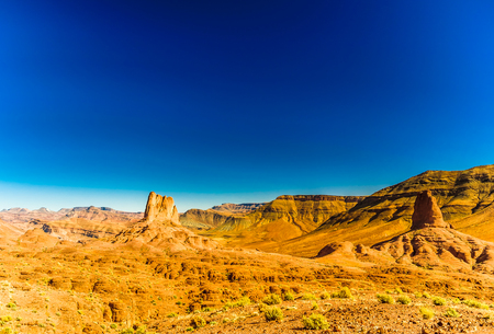 View on rock formation in the mountain area of Jbel Sarhro in Morocco