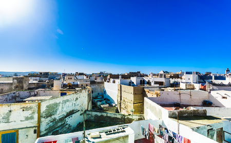 View on cityscape of historical city of Essaouira in Morocco