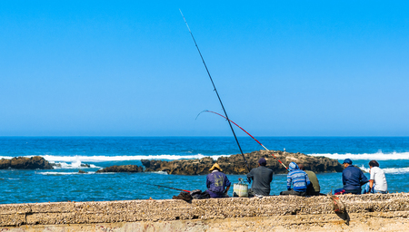 View on Fishermen at the port of Essaouira in Morocco