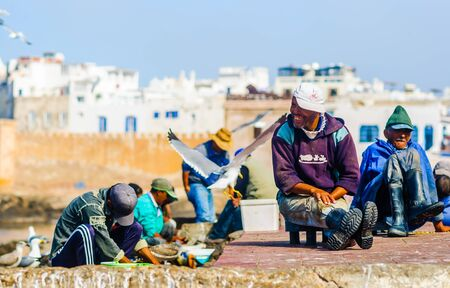Essaouira, Morocco - November 05, 2015: View on group of Fishermen preparing the catch in the port of the city
