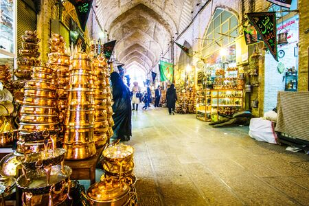 Isfahan, Iran on 31th October 2016: Handicrafted copper products on market hall in Isfahan - Iran
