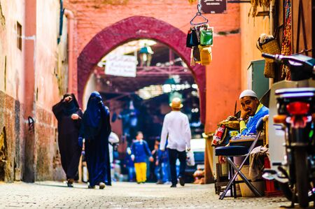 Marrakech, Morocco on 31th October 2015: View on Woman and locals in the in Souk of the old city