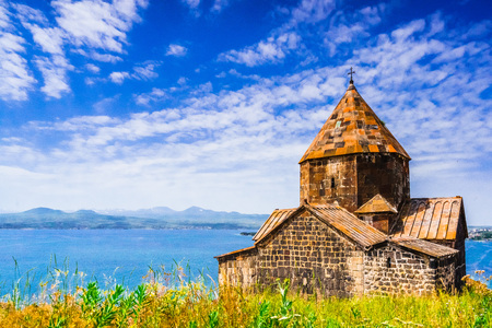 Scenic view of an old Sevanavank church in Sevan in Armenia