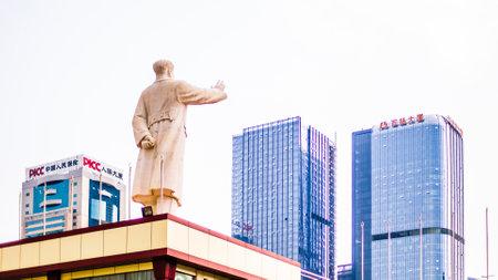 CHENGDU, CHINA - May 16, 2015 - View on Statue of Chairman Mao Zedong on Tianfu Square, Chengdu, Sichuan Province, China Editöryel