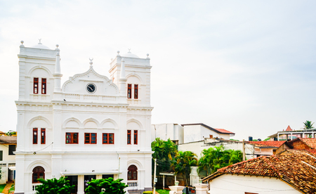 View on White mosque in the south part of Old town Galle, Sri Lanka