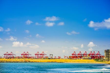 Port of Colombo, behind Long Beach in Colombo, Sri Lanka Stock Photo