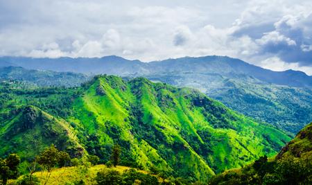 View from the Adams peak to foggy Ella rock, Sri Lanka Stock Photo