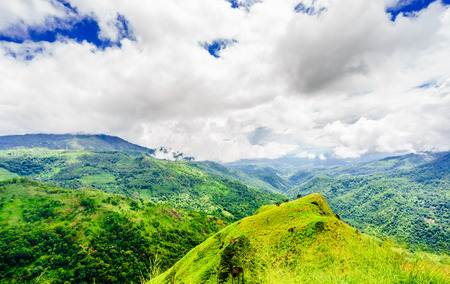 Panoramic picture from little Adams peak to Ella rock in Ella, Sri Lanka.