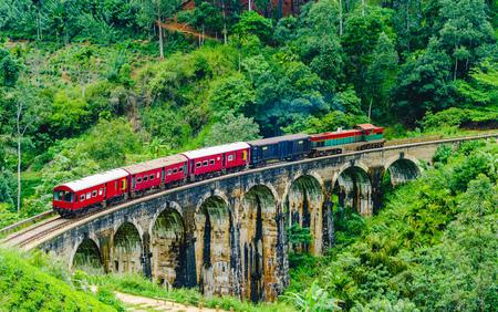 Train passing over Nine Arches Bridge in Ella, Sri Lanka