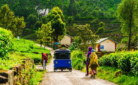 Red Tuk Tuk on the way to tea plantation in Haputale, Sri Lanka