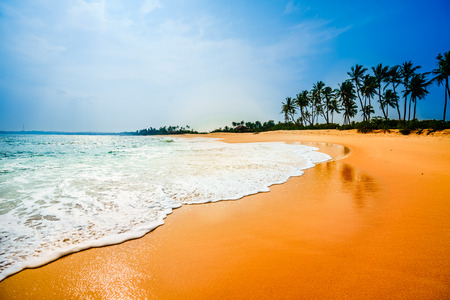 View on tropical sandy beach next of Tangalle - Sri Lanka