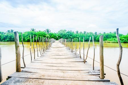 Wooden bridge over the Rekawa lagoon next to Tangalle, Sri Lanka