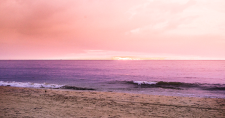 View on pink sunset at the beach of negombo in Sri Lanka