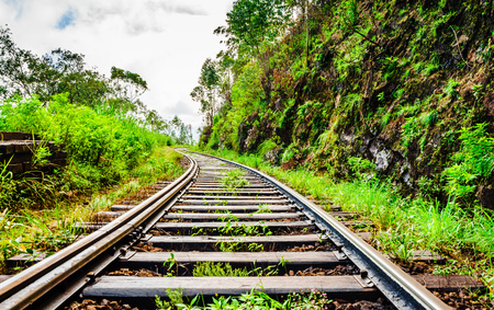 View on railway track in the Highlands of Sri Lanka
