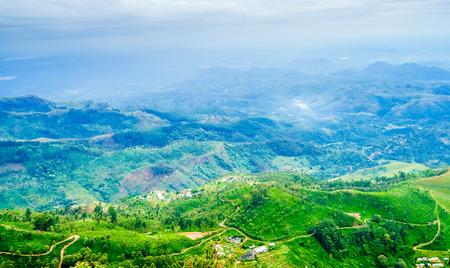 Green mountain landscape next to Haputale, Sri Lanka