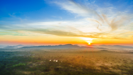 View on sunrise over the jungle from Pidurangala Rock in Sri lanka