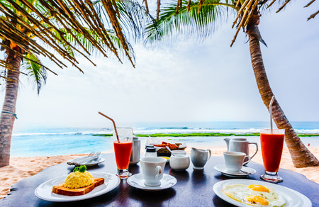 View on tropical breakfast at the beach of Tangalle in Sri Lanka Stock Photo