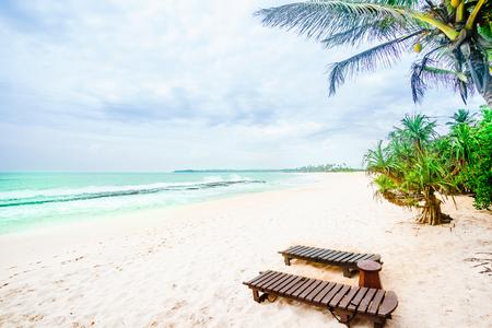 Tropical beach next of village Tangalle - Sri Lanka Stock Photo