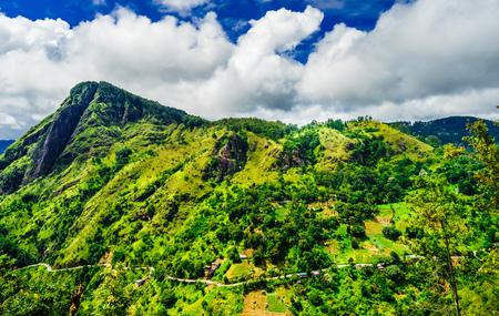 Panoramic view from little Adams peak to Ella rock in Ella, Sri Lanka.
