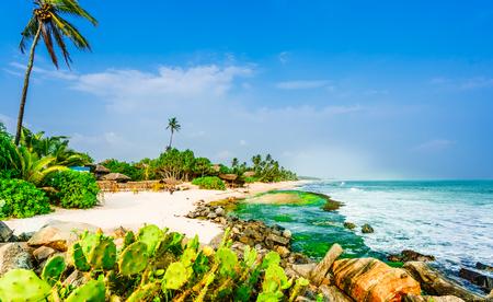 Tropical beach next to village Tangalle - Sri Lanka Stock Photo