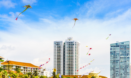 View on cityscape of Colombo with colorful kites, Sri Lanka with modern buildings