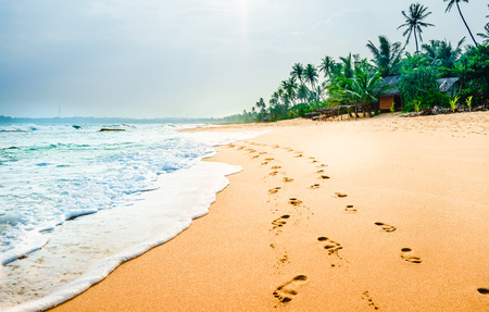 View on foodprints at the tropical beach next of Tangalle - Sri Lanka Stock Photo