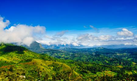 View on green mountain landscape next to Haputale, Sri Lanka Stock Photo
