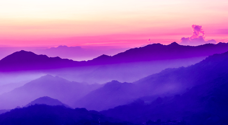 beautiful purple sunset in the mountains
