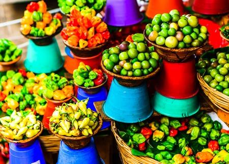 Fresh Vegetable Market in San Cristobal de las Casas, Chiapas, Mexico Stock Photo