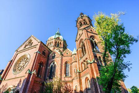 View on St. Lukas Church on Mariannenplatz in Munich