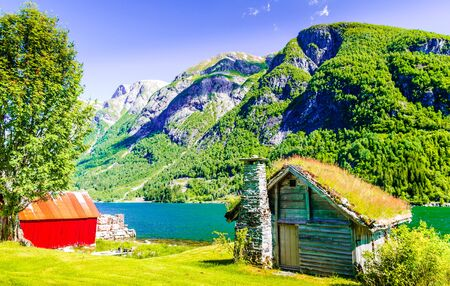 View on Stone cottage by Sognefjord in Norway Фото со стока