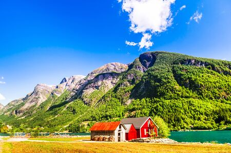 Norwegian Sognefjord  with a typical red house
