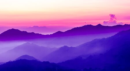 View on purple sunset in the mountains