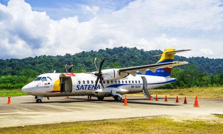 Bahia Solano, Colombia, March 30, 2019, Satena ATR 42 airplane at Jose Celestino Mutis Airport Editorial