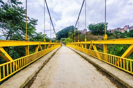 Yellow bridge next to Jardin in Colombia Zdjęcie Seryjne