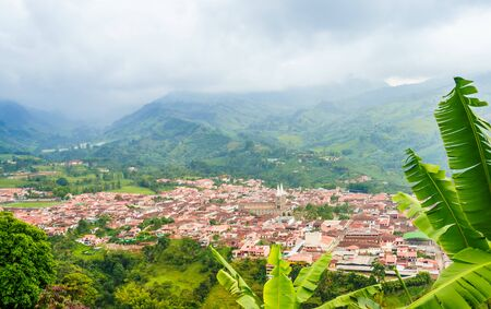 Aerial view over the city of Jardin, Colombia
