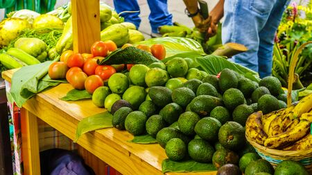 Avocado and fruits on market in Salento, Colombia