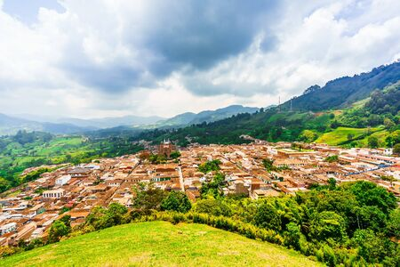Aerial view over the cityscape of the village of Jerico, Colombia Stock Photo