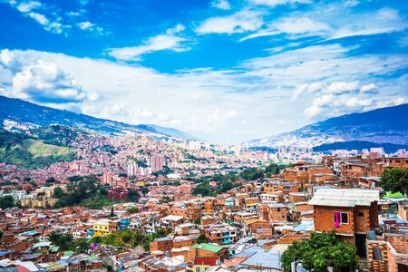 Panoramic view over buildings of Comuna 13 in Medellin, Colombia