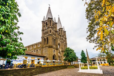 Church and main square in colonial city El Jardin, Colombia, South America Stock Photo