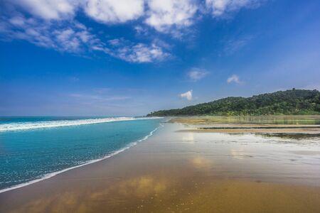 Beach Almejal at Pacific Ocean coast in Choco region by El Valle next to Bahia Solano in Colombia