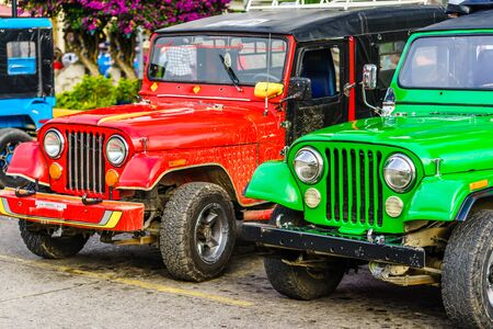 Colorful jeeps in the historical center of Salento, Colombia 版權商用圖片