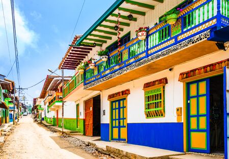 Jerico, Colombia, Antioquia, streets of the colonial city, Colombia Stock Photo