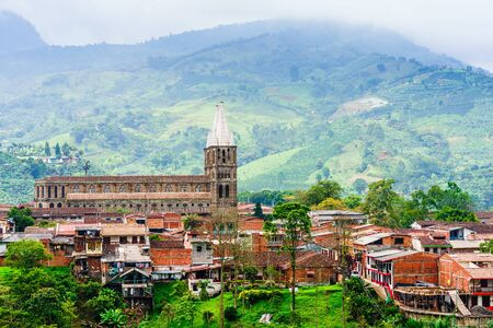 Aerial view over the city of Jardin, Colombia Stock Photo