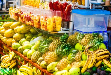 Fresh fruits and juice on market in Salento, Colombia