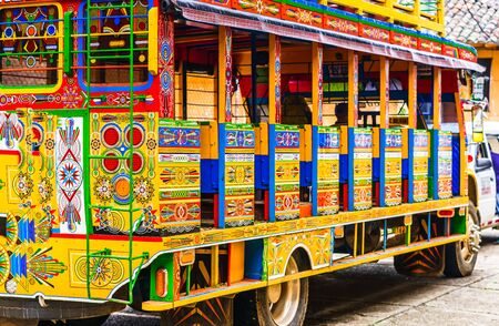 View on typical colorful chicken bus near Jerico, Antioquia, Colombia, South America