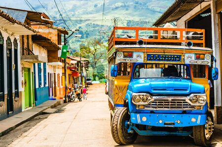 Typical colorful chicken bus near Jerico Antioquia, Colombia, South America