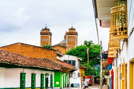 View on colonial center and church in the center of Jerico, Colombia