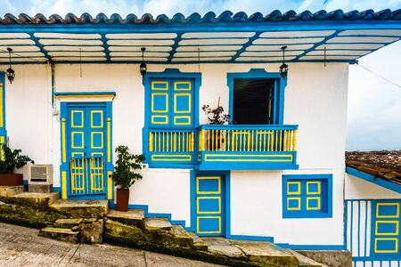 Colourful colonial balcony of old town of Salento in Colombia
