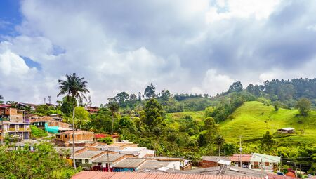 Panoramic view on cityscape of colonial old town of Salento in Colombia